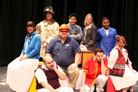 """The cast of """"Working"""" pose in character. Left to right, front: Tyson Meyer and Tyler Lanam. Middle: Kati Bachmayer, Trent Deyo, and Lori Harmel. Back: Zachery Ell, Nate Wilson, Jillian Jensen, and Marleen Frank. Not pictured: Shlomit Oren. Photo Megan Holm."""