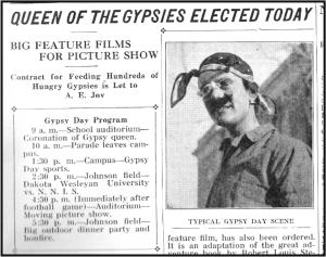 "A clipping showing the schedule for Gypsy Day and a ""Typical Gypsy Day Scene"" from an EXPONENT issue in 1917."