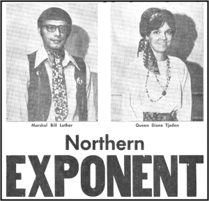 The announcement of Gypsy Days Marshal Luther and Queen Tjaden from a 1970 EXPONENT.