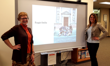 """Dr. Gayle Bortnem and Dr. Andria Moon at their Noon Forum presentation """"What I Did on My Summer Vacation.""""  Photo credit: Exponent Staff."""