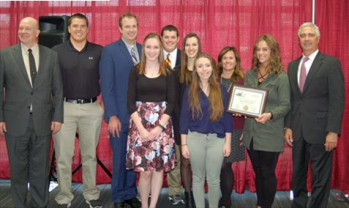 NSU HONORS CLUB Award for Academic Excellence. From left to right: Executive Director Mike Rush, Olaf Hanson, Michael Schliewe, Catherine Leber, Ian Coughlin, Annika Van Oosbree, Rachel Lynch, Dr. Erin Fouberg, Taylor Ellingson, Regent President Randy Schaefer. Photo Courtesy SDBOR.