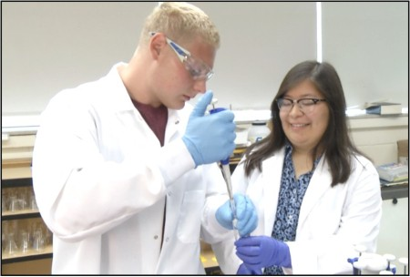 Zach Fleming and Cindy Venegas are isolating the glycosphingolipid, GM1, from afflicted lamb muscle using a methanol:chloroform extraction protocol.